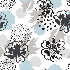 Minimal floral background. Abstract poppy flowers, leaves silhouettes, doodles seamless pattern.