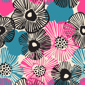 Hand drawn flowers background in retro blue black pink colors. Big blooming flowers