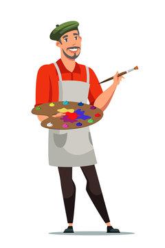 Smiling french artist flat vector illustration