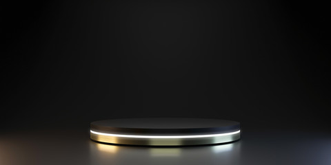 Modern plate pedestal of neon platform display with luxury stand podium on dark room background. Blank Exhibition or empty product shelf. 3D rendering.