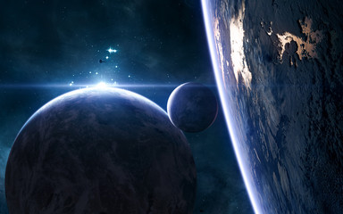 Planets of deep space in blue rays of a star cluster. Science fiction. Elements of this image...