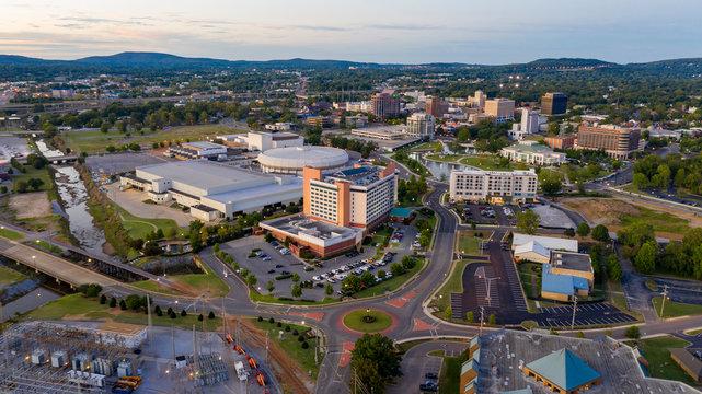 Dusk Over The Downtown Urban City Center of Huntsville Alabama