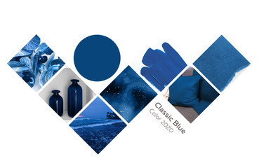 collage of pictures in blue color from photographs of the interior and nature. classic blue, pantone color of the year 2020