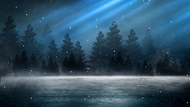Empty night nature scene. The night starry sky, the rays of the blue neon spotlight. Snowy winter night background.