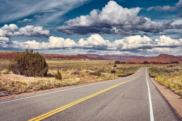 Keuken foto achterwand Zalm Color toned picture of a scenic road, Utah, USA.