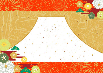 花火 お正月 富士 和紙皺 背景