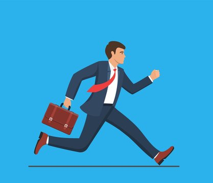 Business man with briefcase running fast. Late business person rushing in a hurry to get on time. business concept. Vector illustration in flat style.