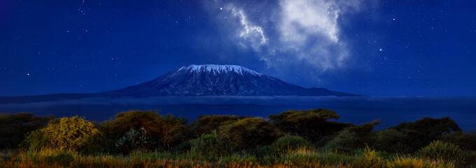 Stars over Mount Kilimajaro. Panoramic, night scenery of snow capped highest african mountain, lit by full moon against deep blue night sky with stars. Savanna view, Amboseli national park, Kenya.