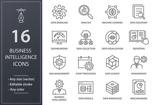 Business Intelligence line icons set. Black vector illustration. Editable stroke.