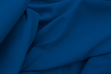 blue fabric texture, background. folds close up.