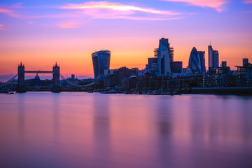 Long exposure, Tower bridge and London cityscape with river Thames