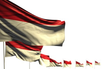 beautiful Monaco isolated flags placed diagonal, picture with selective focus and space for content - any celebration flag 3d illustration..
