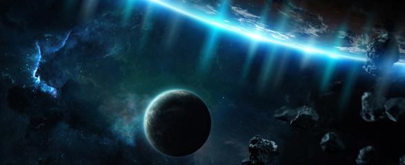 Obraz Odległy układ planet w kosmosie z egzoplanetami - fototapety do salonu