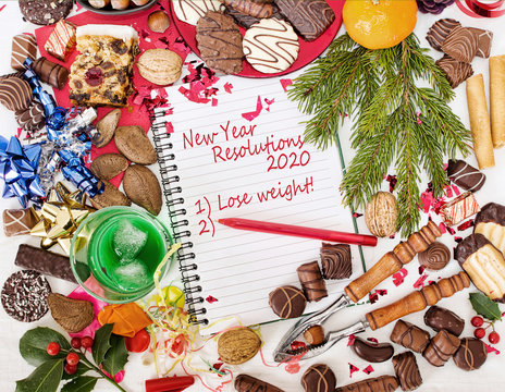 Christmas food, feast and new year resolution to diet. 2020.
