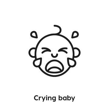 crying baby icon vector. crying baby icon vector symbol illustration. Modern simple vector icon for your design. crying baby icon vector