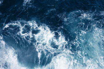 Top view on blue ocean waves. Fotomurales