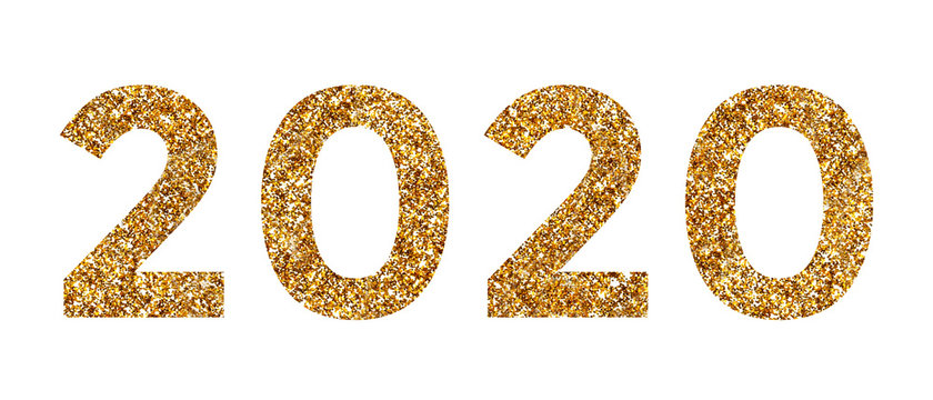 Number 2020 in gold, sparkling numbers isolated on white background