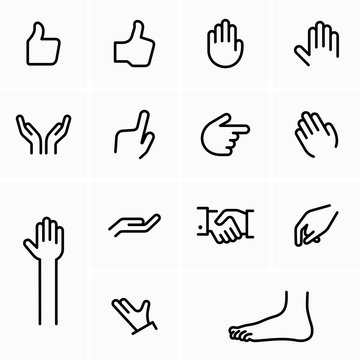Hand poses, signs, gestures and foot