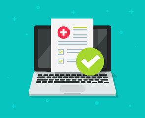 Medical prescription digital document or online test results report on laptop computer screen vector, pc with online healthy electronic check list from, concept of on-line internet medicine image