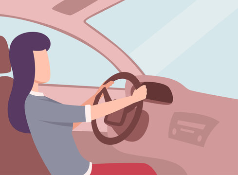 Brunette Woman Driving a Car, Side View from the Inside, Female Driver Character Holding Hands on a Steering Wheel Vector Illustration