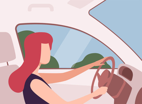 Young Woman Driving a Car, View from the Inside, Female Driver Character Holding Hands on a Steering Wheel Vector Illustration