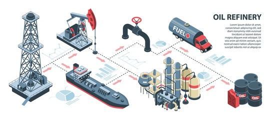Isometric Oil Refinery Infographics