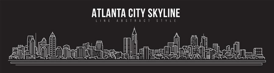 Fototapeta Cityscape Building panorama Line art Vector Illustration design - Atlanta city obraz
