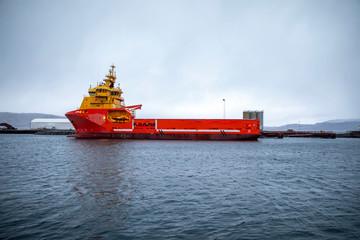 Offshore supply ship in Sandnessjøen harbour, Nordland county