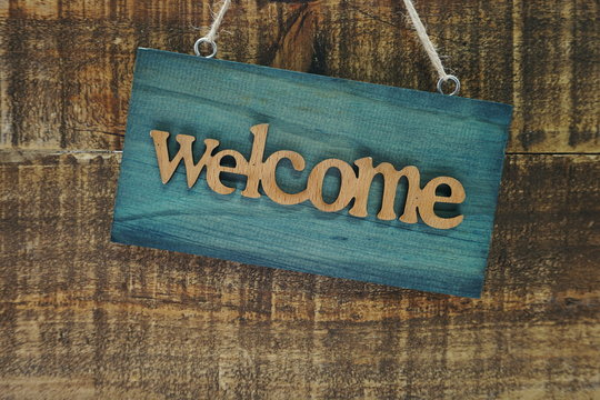Welcome sign and home decor with space copy background
