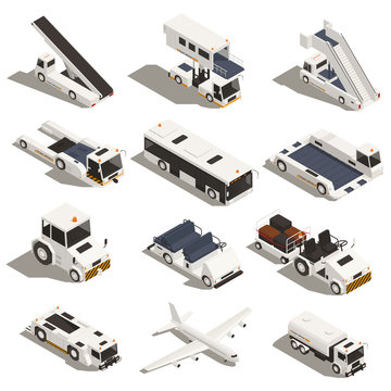 Airport Vehicles Isometric Set