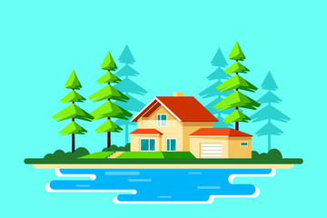 Family cottage house in the forest, Flat design illustration.
