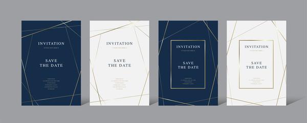Vintage luxury  invitation card set with golden frame vector design