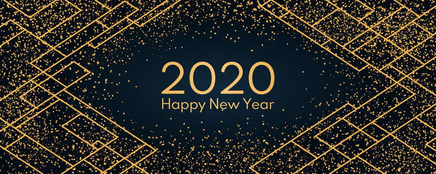 Vector illustration with golden glitter, geometric elements on a dark blue background, text 2020 Happy New Year. Flat style design. Concept for holiday celebration, greeting card, poster, banner.