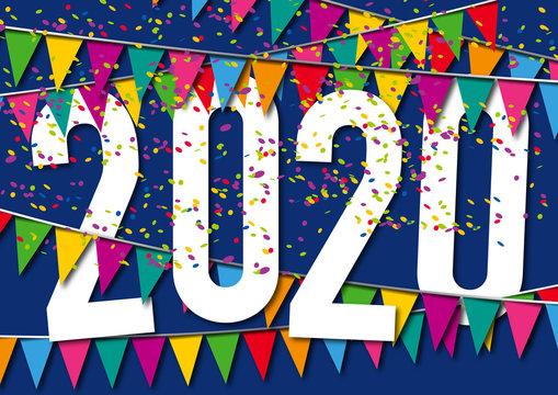Carte de vœux 2020 dans une ambiance de fête, avec des fanions de couleurs, des guirlandes et des cotillons sur un fond bleu nuit.