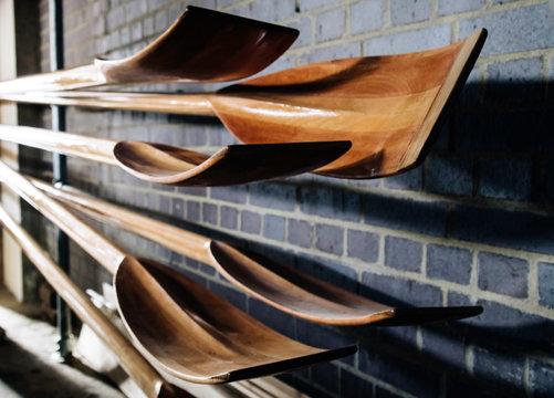 Traditional wooden oars