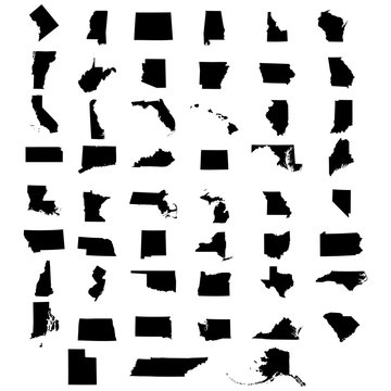 Complete collection of the states of the USA and the District of Columbia. Silhouettes of icons on a white