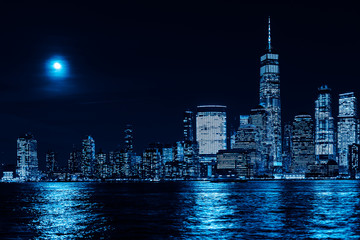Amazing panorama view on New York City skyline and Downtown Manhattan from Jersey City, toned in...