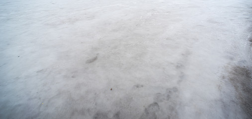 Horizontal surface water is frozen