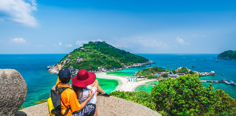 Panorama couple traveler joy view beautiful nature scenic landscape Koh Nang Yuan island Famous adventure landmark tourist travel Thailand fun beach summer holiday vacation, Tourism destinations Asia