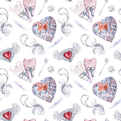 Watercolor Seamless Pattern. Vintage Diamonds Hearts Clipart. Valentines Day Wedding cards. Hand Painted Jewelry. Antique silver. Retro heart. Scrapbooking