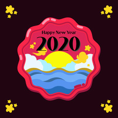 Chinese style new year greeting vector source