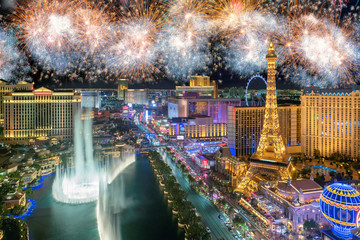 Foto op Canvas Las Vegas New Year celebration fireworks on Las Vegas strip, Nevada, USA.