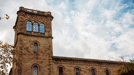 detail of the tower of the University of Barcelona