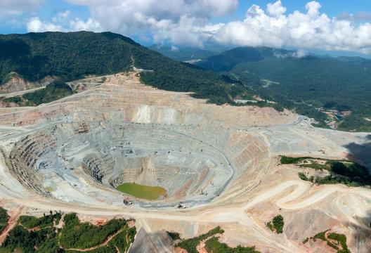 open pit copper mine view in indonesia