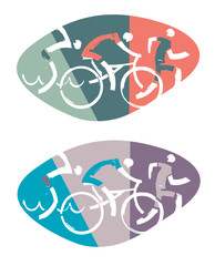 Swimmer, cyclist, runner racers. Three triathlon stylized athletes. Vector available.