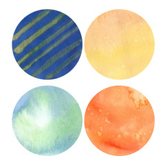 set of 4 orange and blue watercolor circles