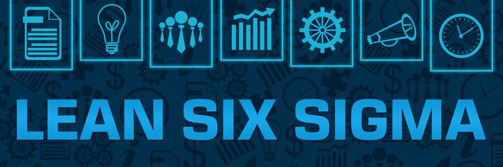 Lean Six Sigma Blue Neon Business Symbols On Top Horizontal
