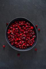Frozen cranberries background, healthy berries