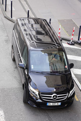 Mercedes-Benz Viano in city centre black luxury mercedes class v minivan