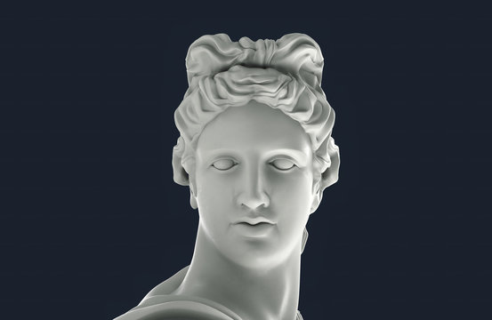 Greek Apollo Head. White plaster ancient God statue. Isolated 3d illustration